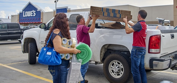Houston families buy hurricane recovery supplies at Houston store