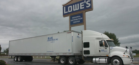 Truck leaving Lowe's distribution center.